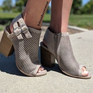 Shoes - Perforated Peep Toe Booties